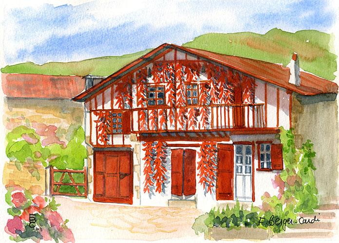 Aquarelles le pays basque artiste peintre francette berger cardi - Maison close pays basque ...